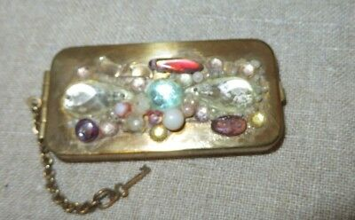 Vintage Charge Plate Case Holder Jeweled Top W/ Chain And Key *Rare*