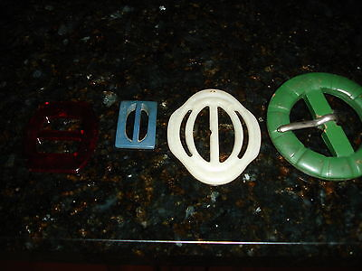 Lot of 4 Vintage Belt Buckles (Green leather, bake lite? Lucite? Plastic)