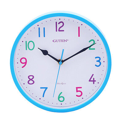 Guten Kids Rainbow Dial Blue Case Silent Sweep Childrens Wall Clock GD832-1