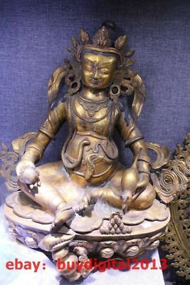 "22""Tibet Buddhism Temple Bronze 24K Gold Yellow Jambhala Guru Wealth God Buddha"