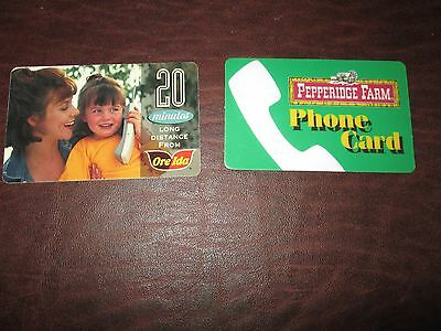 2 Collectible Unused Expired Phone Cards: Ore Ida , Pepperidge Farm '96/'97
