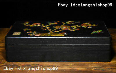 12 Old China Rosewood Wood Inlay Jade Gem Bird Flower pattern casket Jewelry Box