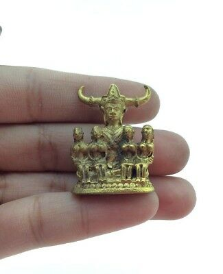 Great charm Lanna Brass Thai Amulet compassion Luck Rich Happiness Good business