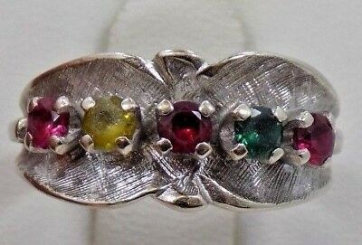 Vintage 14k Solid White Gold Jewelry Ring Colorful Birthstones Size 6 ~4.7 grams