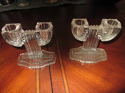 VINTAGE PAIR OF CLEAR DEPRESSION CACTUS CANDLE HOLDERS reduced
