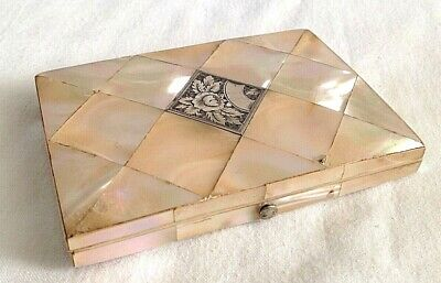 Antique mother of pearl sterling silver card case blue concertina wallet inside