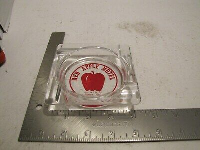 Vintage Red Apple Motel Yakima, Wa Clear Glass Ashtray Clean