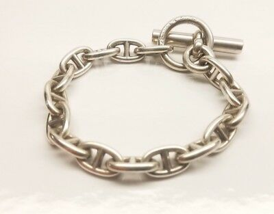 f4947324bf7 HERMES STERLING SILVER Chaine D Ancre Cuff Bracelet Large Model Size ...