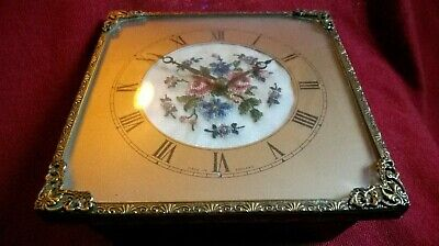 VINTAGE SQUARE CLOCK EMBROIDERED FLOWERS 1940s