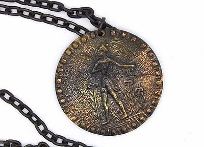 BIG Vtg KNOSSOS PRINCE OF LILIES Greek CORFU SHIP Copper Medallion Necklace