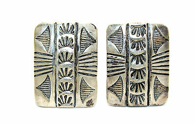 Ornate Vintage SOUTHWESTERN Modernist Sterling Silver CONCHO STYLE Cufflinks