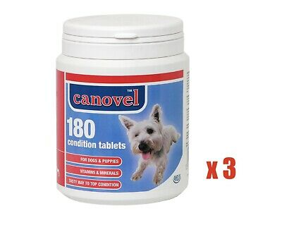 180 Tablets Canovel Dog & Pup Condition Vitamins (3 tubs, 540 tablets)