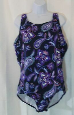 5ab7208bbc70c LANDS END nwot new one piece SWIMSUIT womens 24W Twilight Floral tummy  control