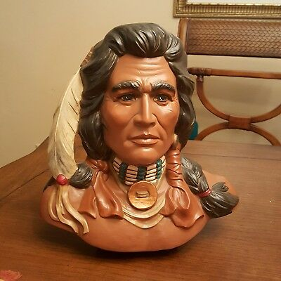 Native American Indian Chief Style Bust Hand Painted Ceramic 10.75 inches Tall