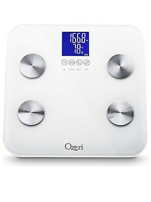 Ozeri Touch 440 lbs Total Body Bath Scale – Measures Weight, Fat, Muscle, Bon...