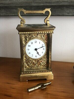 Antique Brass Carriage Clock - Fancy Dial - R&co - Made In France