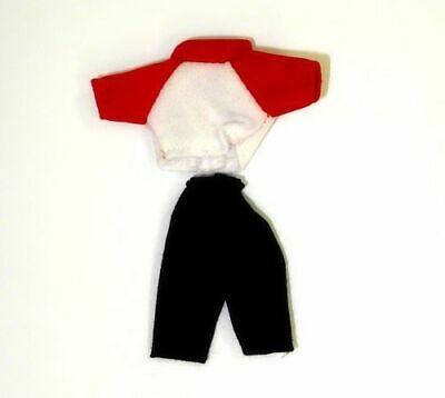 Dollhouse Kids Wearable Pants and Red White Shirt for Miniature Doll
