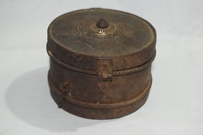 1800's Antique Old Iron Hand Forged Mughal Style Jewelry Box Round Shape