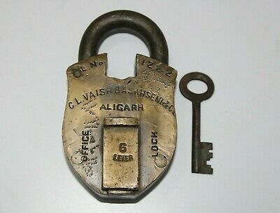 Old Antique Vintage Brass HEAVY & UNIQUE Shape padlock with key Original Patina
