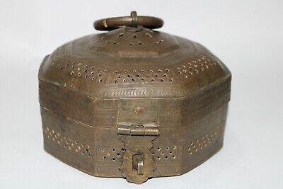 1850 Old antique Mughal brass Islamic jali cut multipurpose box octagonal shape