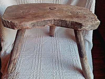 Rare Old Antique Primitive Wooden Wood Handmade Stool Chair Tripod