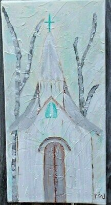 """SOUTHERN  FOLK ART RUSTIC CHURCH ORIG. PAINTING  by P.Ford 7"""" X 14"""" TEXTURED"""