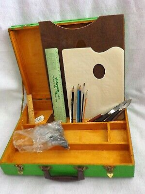 Vintage Art Box Artist Box with Palette and Supplies Divided Art Supply Case