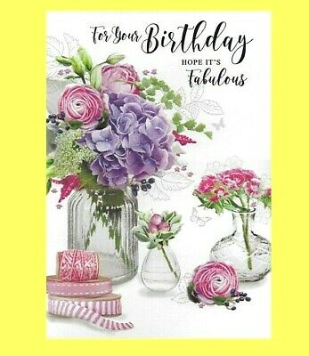 Open Female Birthday Card Traditional Flowers Floral Ladies Simon Elvin 263582