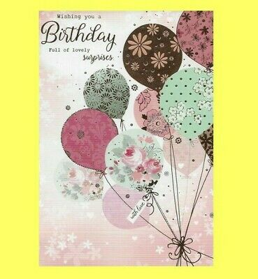 Open Female Birthday Card Traditional Balloons Flowers Gold Ladies