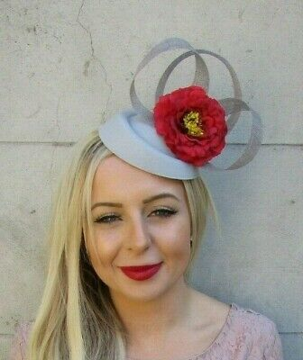 Grey Red Flower Pillbox Hat Hair Fascinator Clip Races Wedding Rose Floral 7154