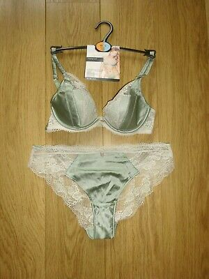 c8d63e5fdbd2 Marks & Spencer Rosie For Autograph Green Silk Bra & Knickers Size 32C ...