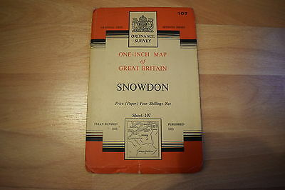 "Ordnance Survey 1"" One Inch Map Snowdon 107 Seventh Series 1953"