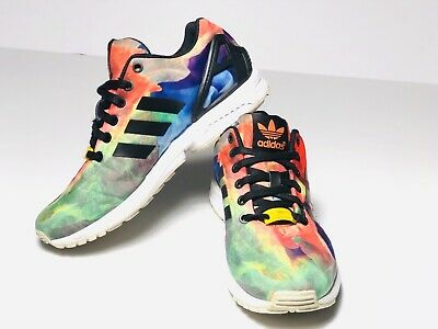bfd70ee7f2ee2 Adidas ZX Flux Size 7 Rainbow Tie Die Watercolor Torsion Running Athletic  Shoes