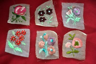 6 Vtg 1960'S Miniature Embroidery Flowers On Translucent Organdy, Crafts, Cards