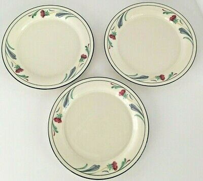 "Set of 3 Lenox Chinastone Poppies On Blue 8 1/4"" Dessert / Bread Plates"