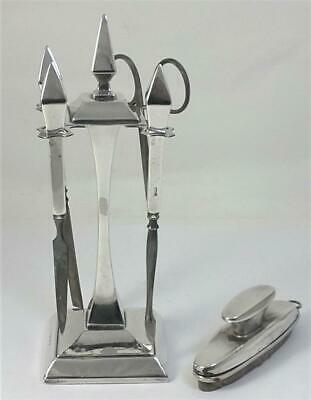 Art Deco hallmarked Sterling Silver Manicure Stand, Tools and Buffer – 1935