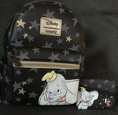 Disney Loungefly DUMBO Star MINI BACKPACK and Matching Black Star Wallet