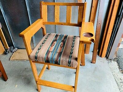 Beautiful Mission Style Arts & Crafts Oak Arm Chair W/ Upholstery Seat L@@K