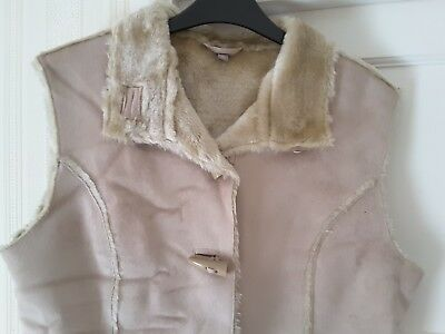 TU Beige Faux Suede Look Gilet with Fluffy Lining Size 16