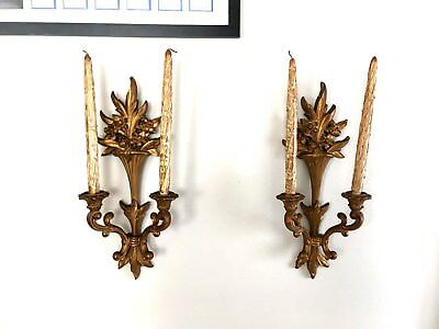 Vtg (2) SYROCO Wood Hollywood Regency Ornate Double Arm Candle Wall Sconces Set