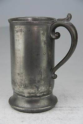VERY RARE ANTIQUE PEWTER QUART TANKARD MUG MEASURE BY STOCKER & EVERETT c184
