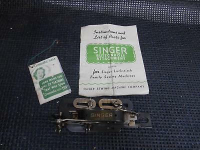 Old Vtg SINGER BUTTON HOLE ATTACHMENT #121795 Sewing Machine w/ Instructions