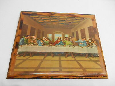 """Old Vtg DECOPOUGE RELIGIOUS PRINT  """"LAST SUPPER""""  WOOD PLAQUE Wall Hanging"""