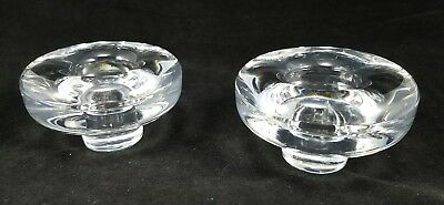 Pair Of Modern Mid Century Dansk Lead Glass Crystal Candle ~ Candlestick Holders