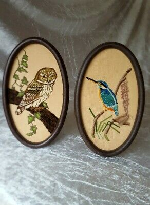 Vintage Hand Embroidered Owl & King Fisher