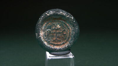 Ancient Glass Weight With Monogram Byzantine 400-700 Ad