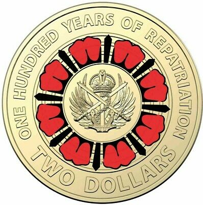 2019 Bring Them Home -100 Years of Repatriation $2 Colored Coin FREE DELIVERY