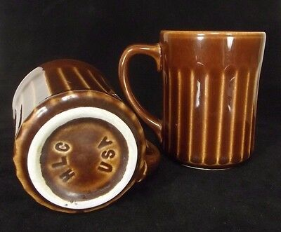 2 Homer Laughlin Brown Ribbed Restaurant Ware Mugs HLC USA vintage coffee cup