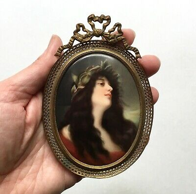 Fine Antique Hutschenreuther Painted Porcelain Portrait Plaque, 1880s Germany