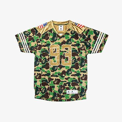 f67e8d9a2ee BAPE x adidas Super Bowl Jersey Green Camo A Bathing Ape 100% Authentic  Large